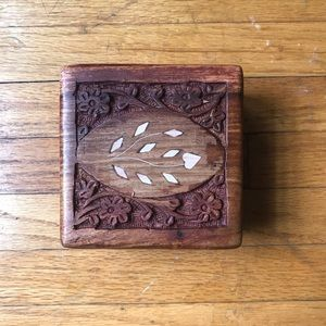 Small Floral Wooden Carved Trinket Box